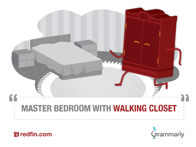 walking closet, walk-in closet, Grammarly, Redfin, real estate, spelling, grammar, National Grammar Day