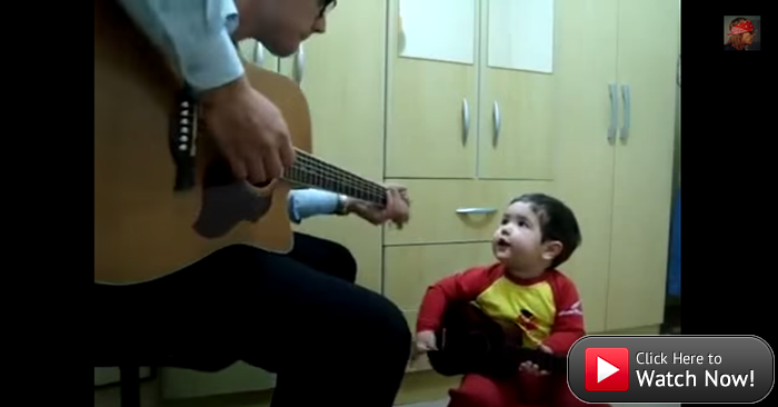 Two-year-old sings